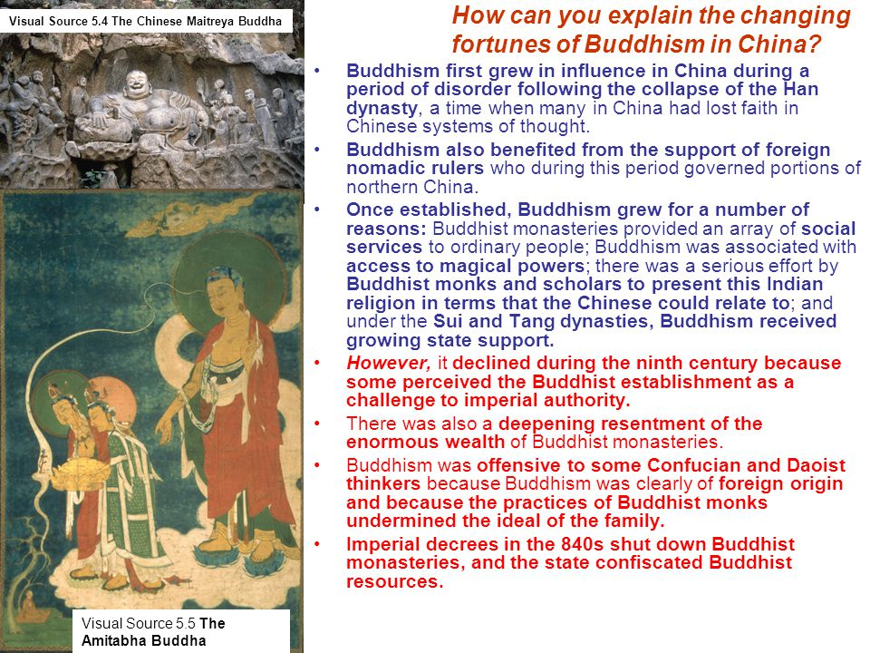 How can you explain the changing fortunes of Buddhism in China