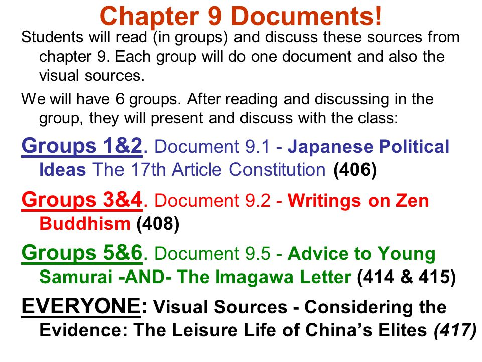 Chapter 9 Documents!