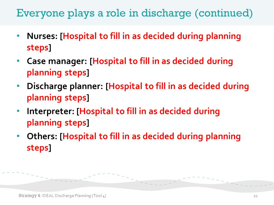 Everyone plays a role in discharge (continued)