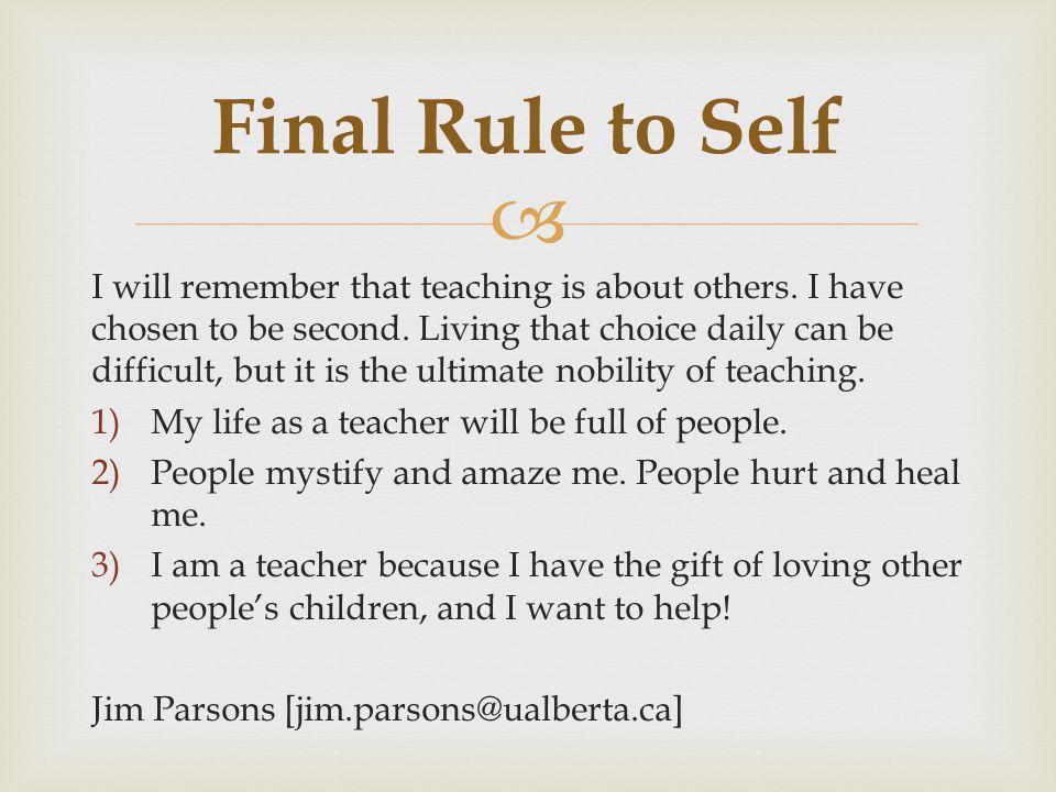 Final Rule to Self