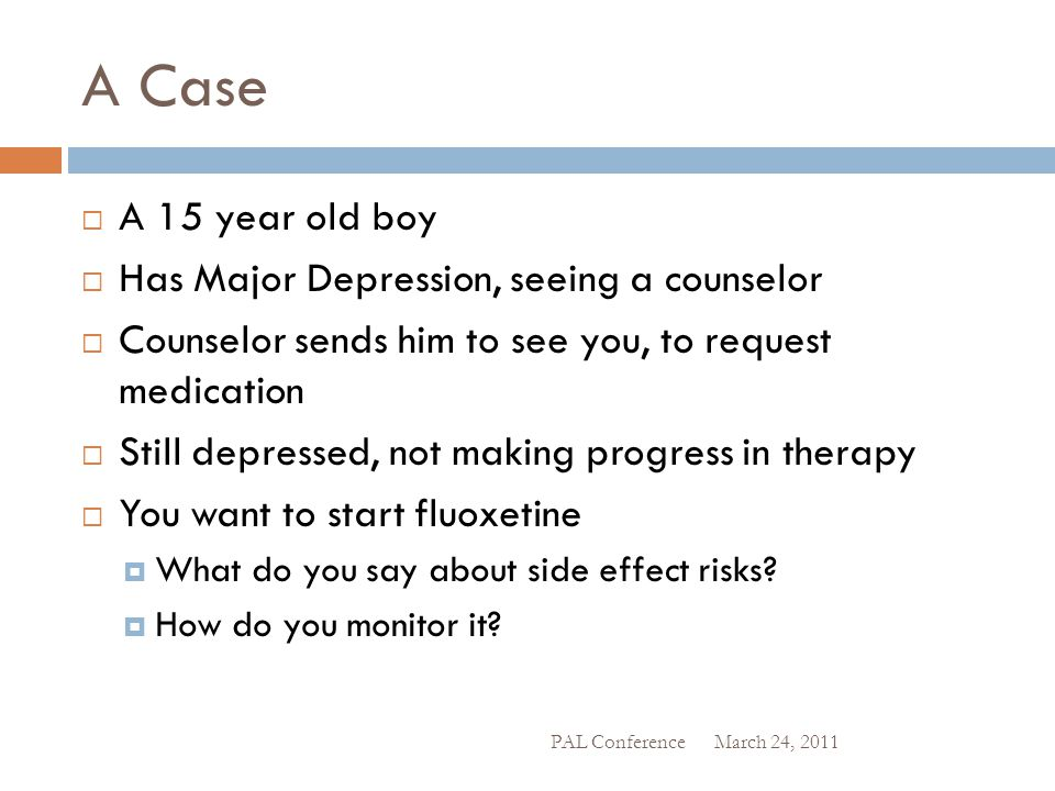 A Case A 15 year old boy Has Major Depression, seeing a counselor