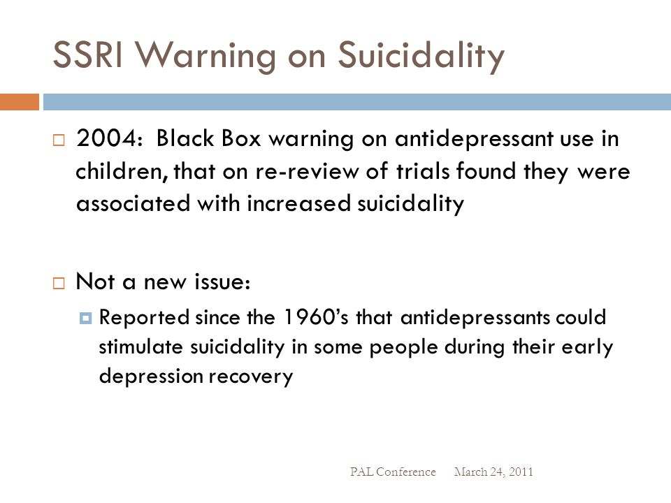 SSRI Warning on Suicidality
