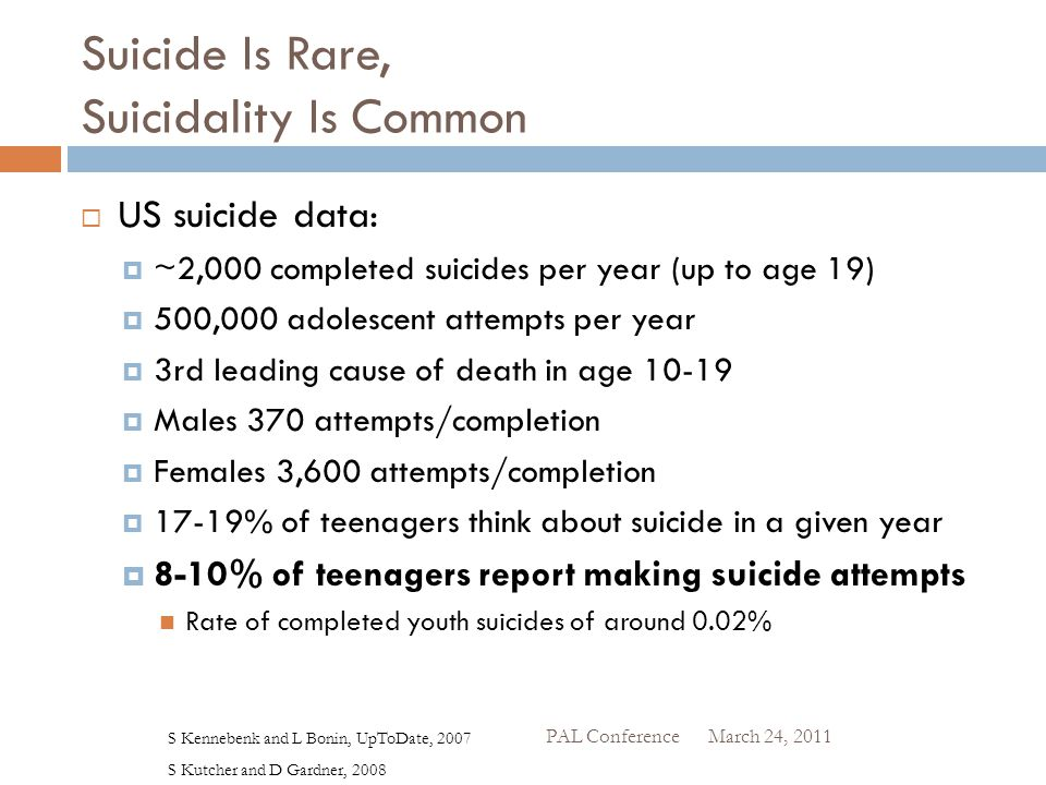 Suicide Is Rare, Suicidality Is Common