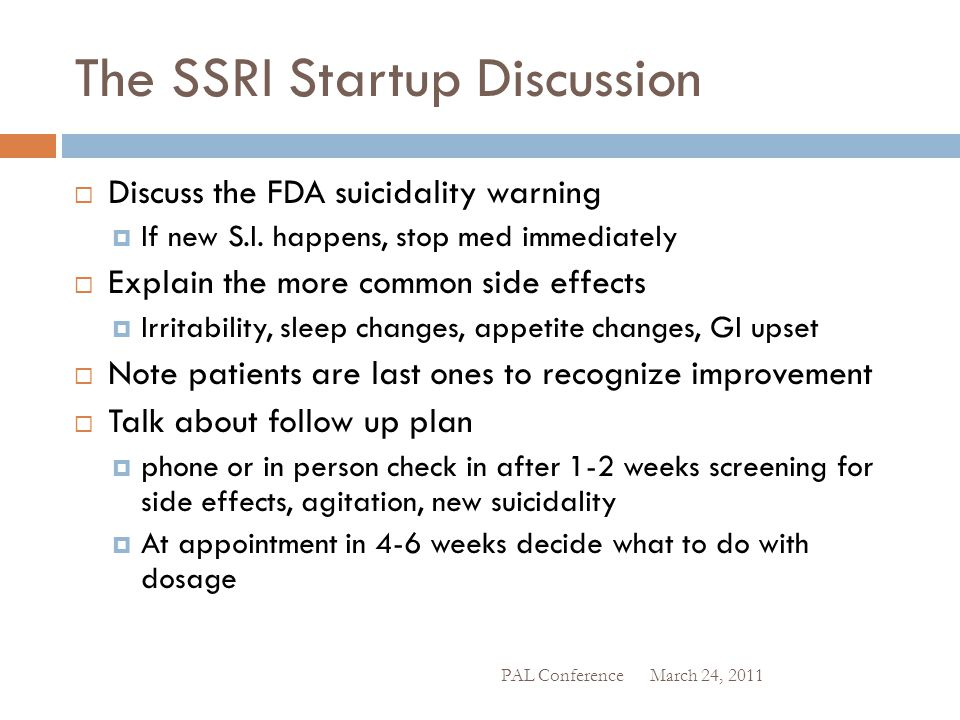 The SSRI Startup Discussion