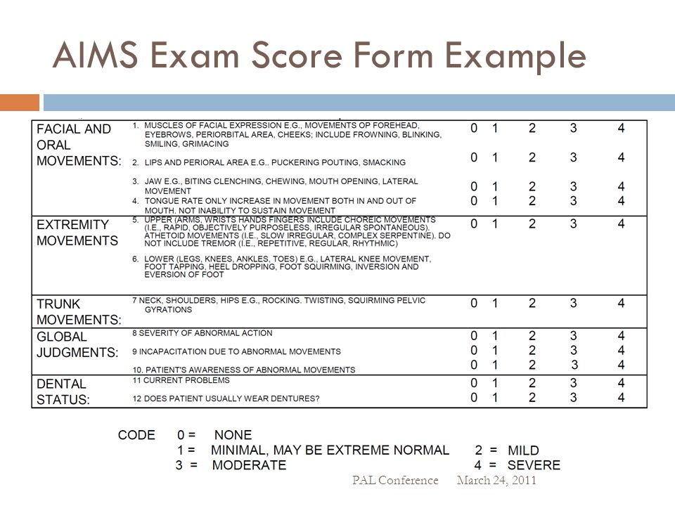 AIMS Exam Score Form Example