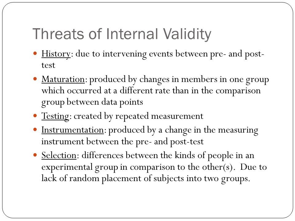 Threats of Internal Validity