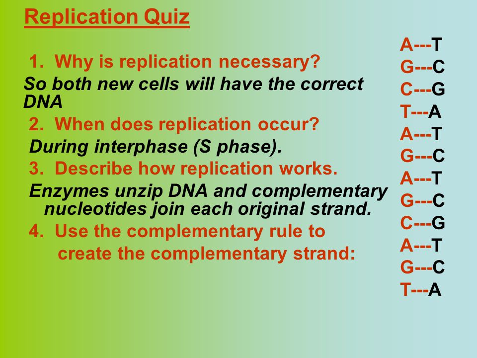 Replication Quiz 1. Why is replication necessary