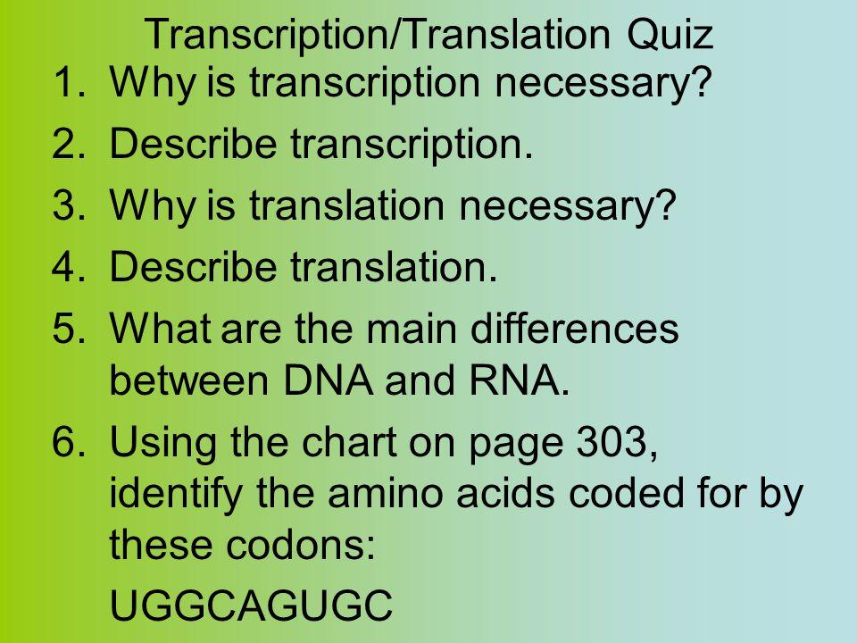 Transcription/Translation Quiz