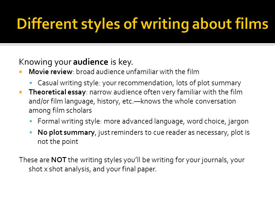 Different styles of writing about films
