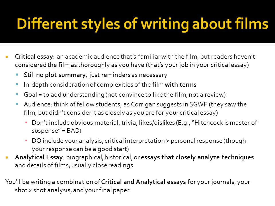 film analysis criticism ppt  different styles of writing about films