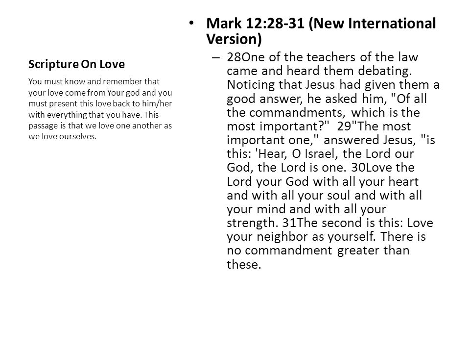 Mark 12:28-31 (New International Version)