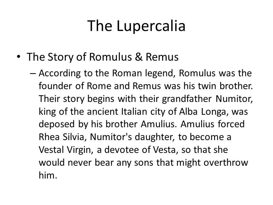 The Lupercalia The Story of Romulus & Remus