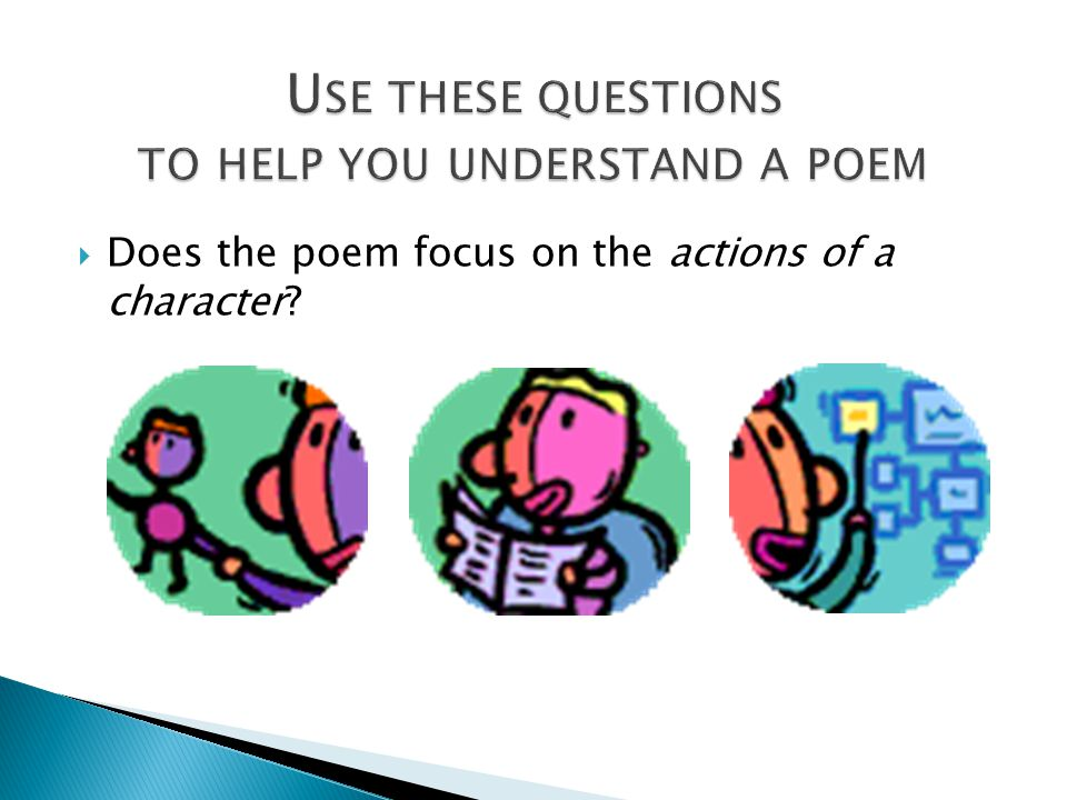 Use these questions to help you understand a poem