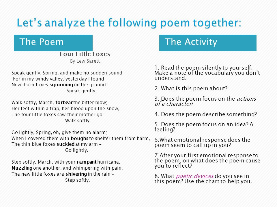 Let's analyze the following poem together: