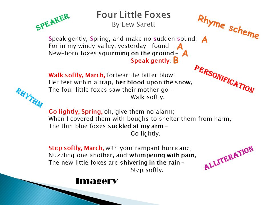 Four Little Foxes Rhyme scheme A A A B Imagery Speaker Personification