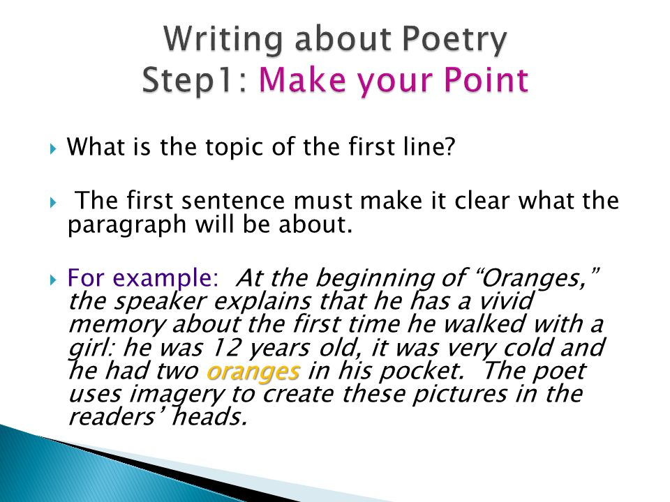 Writing about Poetry Step1: Make your Point