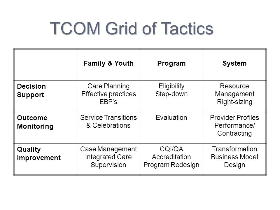 TCOM Grid of Tactics Family & Youth Program System Decision Support