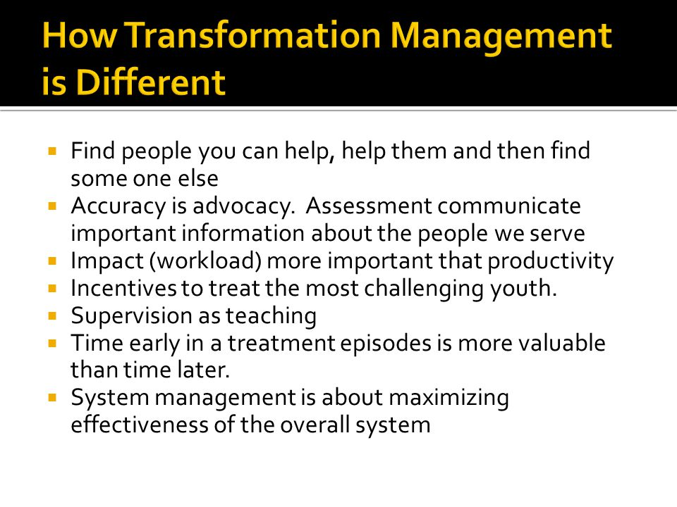 How Transformation Management is Different