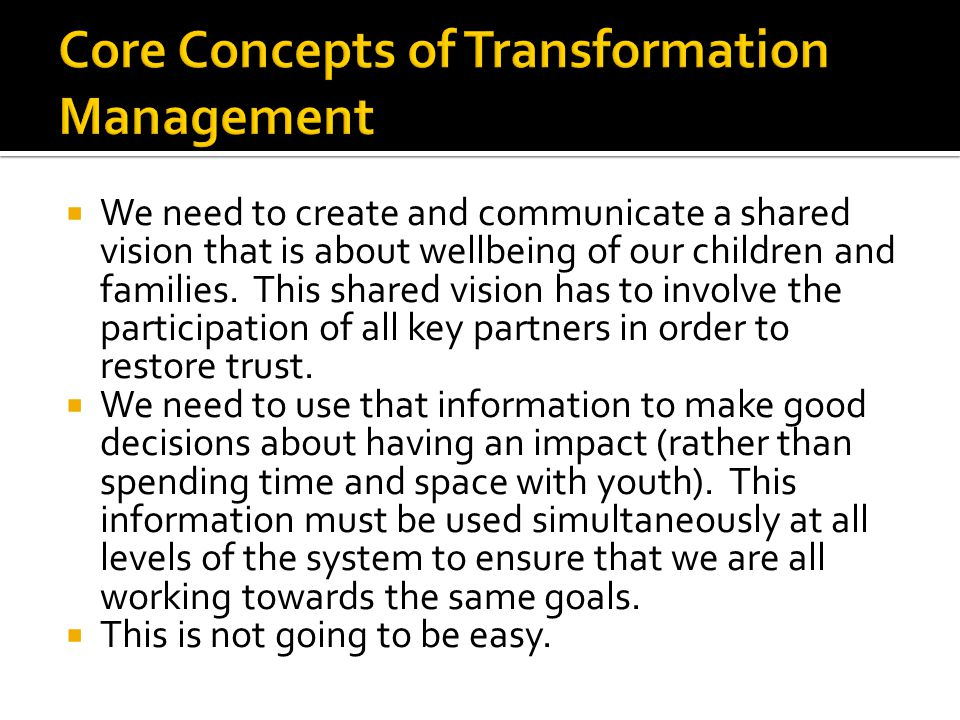 Core Concepts of Transformation Management