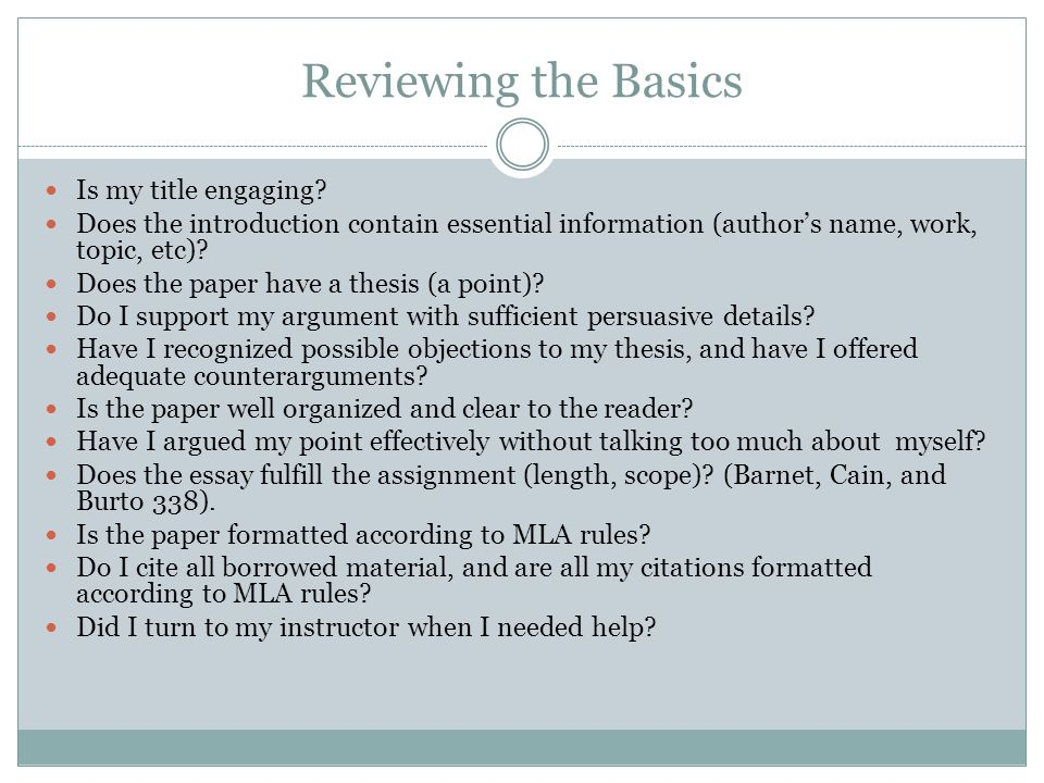 Reviewing the Basics Is my title engaging