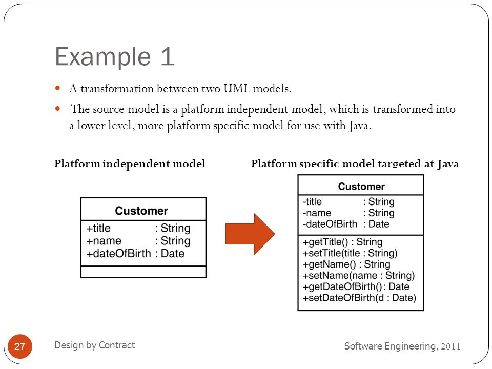 Example 1 A transformation between two UML models.