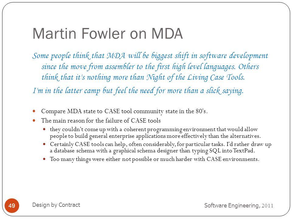Martin Fowler on MDA