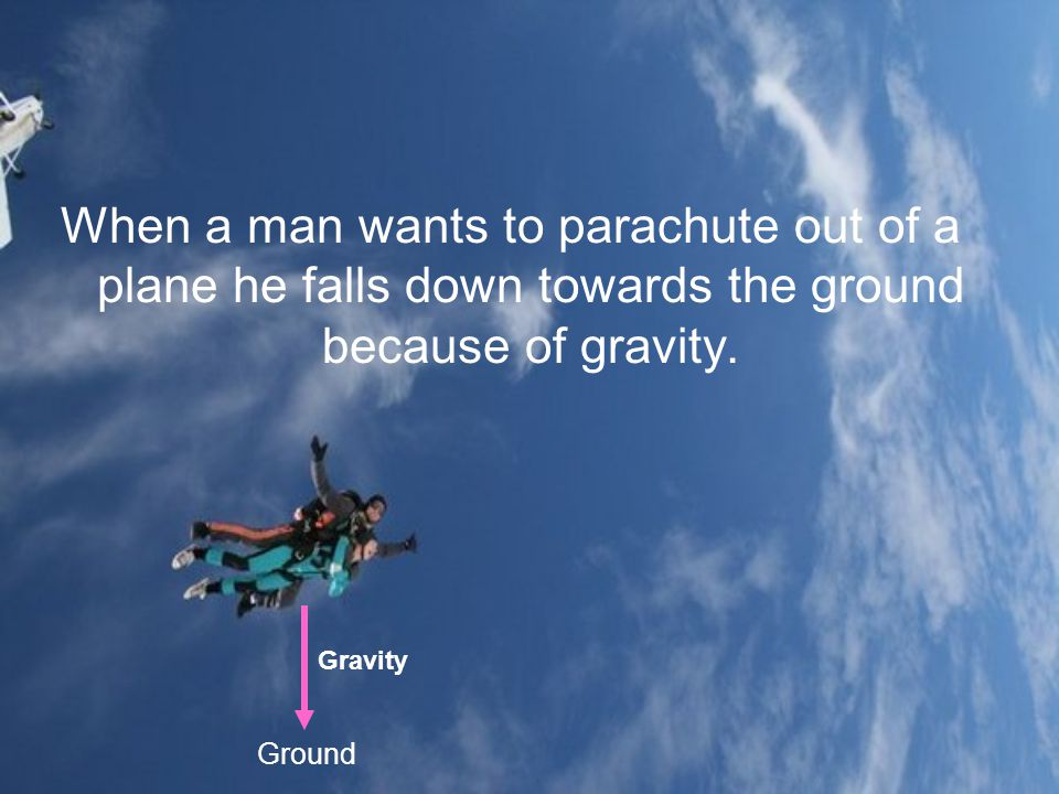 When a man wants to parachute out of a plane he falls down towards the ground because of gravity.