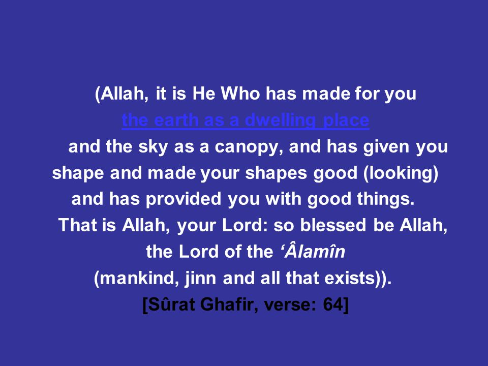 (Allah, it is He Who has made for you the earth as a dwelling place