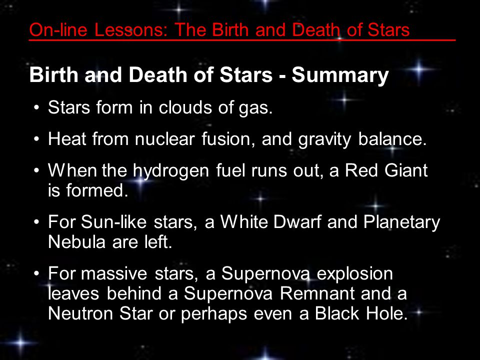 On-line Lessons: The Birth and Death of Stars