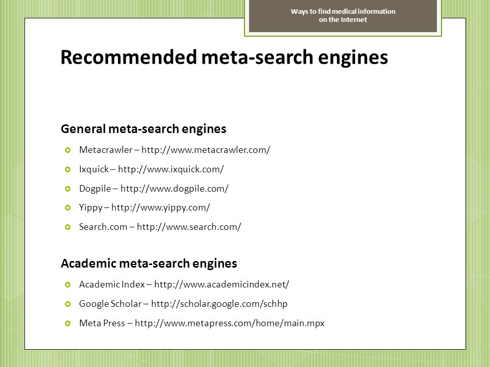 Recommended meta-search engines