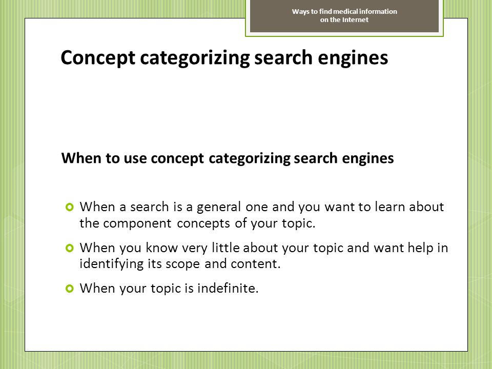 Concept categorizing search engines