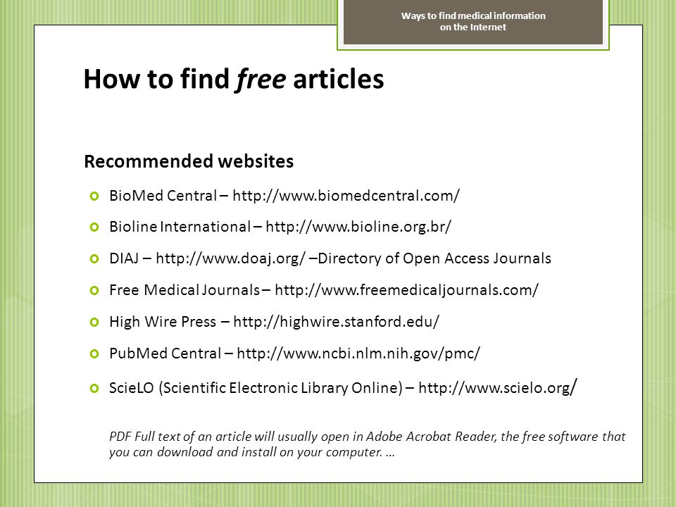 How to find free articles