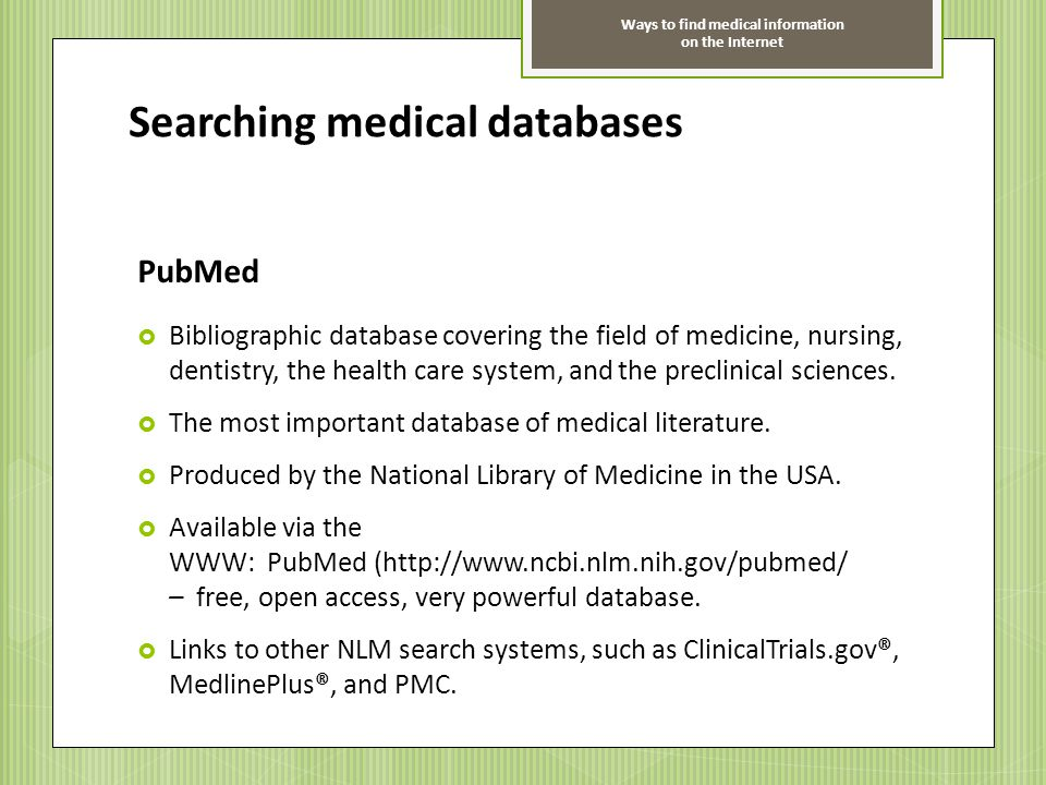 Searching medical databases