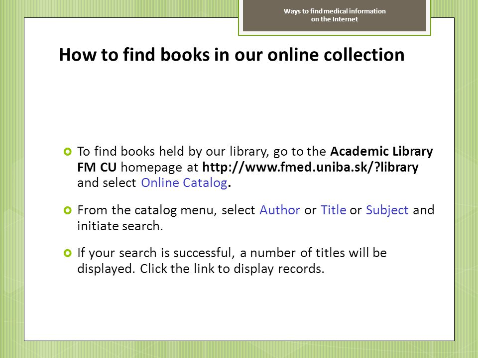 How to find books in our online collection
