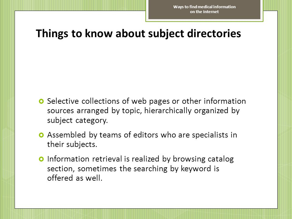 Things to know about subject directories