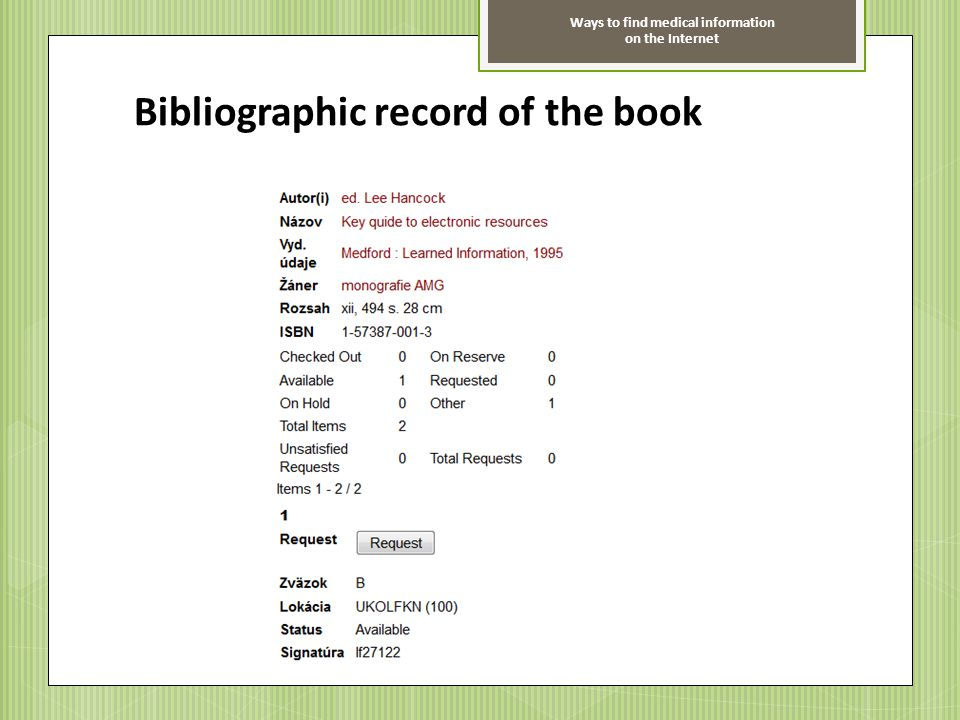 Bibliographic record of the book