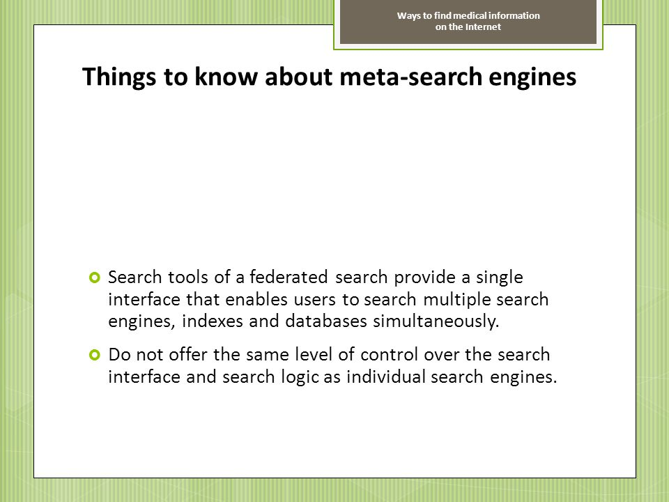Things to know about meta-search engines