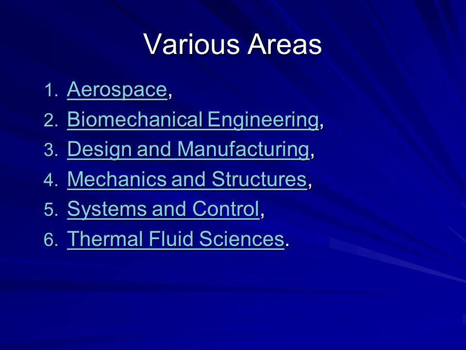 Various Areas Aerospace, Biomechanical Engineering,