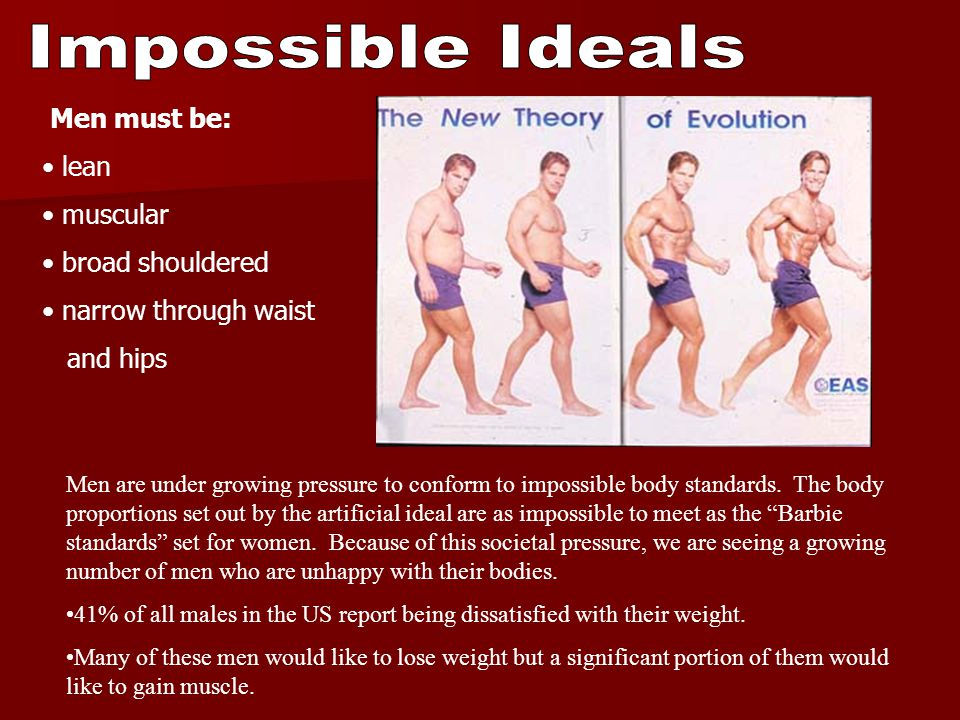 Impossible Ideals Men must be: lean muscular broad shouldered