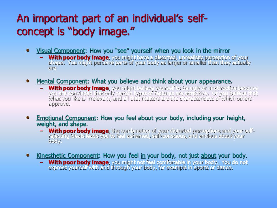 An important part of an individual's self-concept is body image.