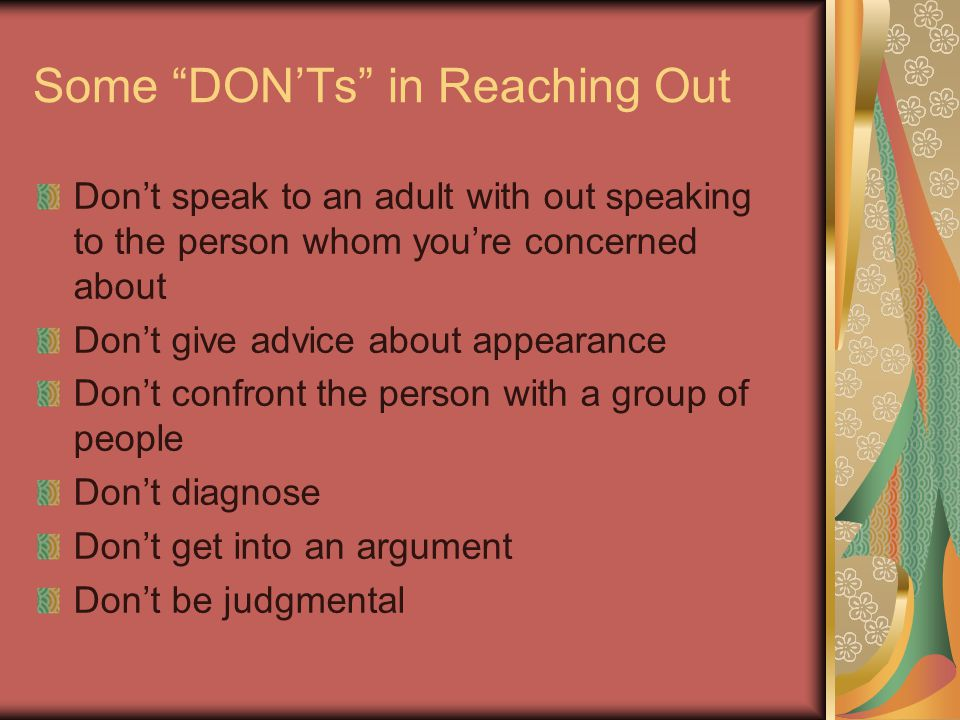 Some DON'Ts in Reaching Out