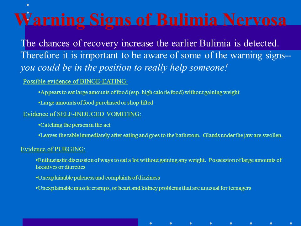 Warning Signs of Bulimia Nervosa