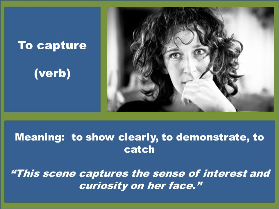 To capture (verb) Meaning: to show clearly, to demonstrate, to catch