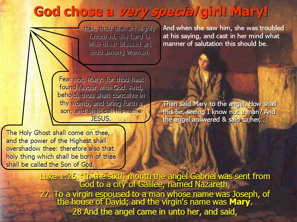 God chose a very special girl! Mary!