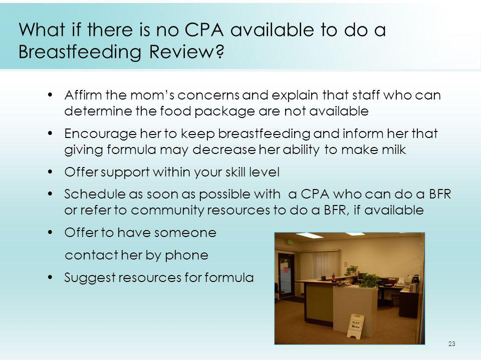 What if there is no CPA available to do a Breastfeeding Review