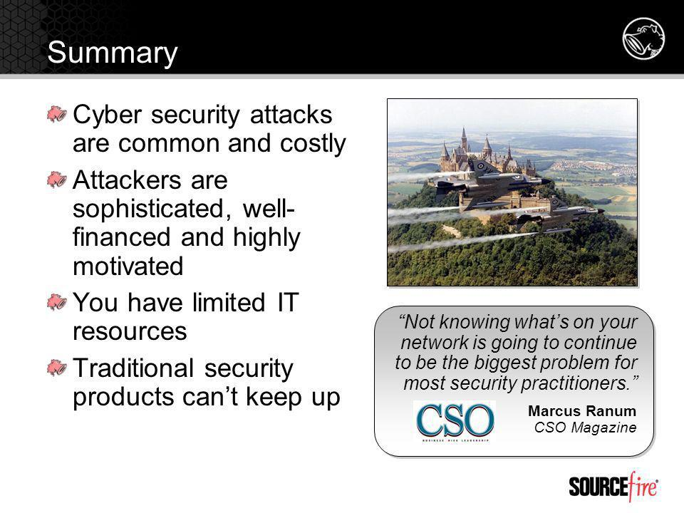 Summary Cyber security attacks are common and costly