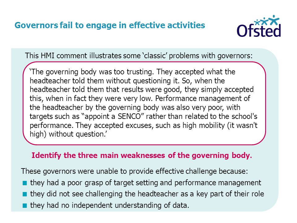 Identify the three main weaknesses of the governing body.