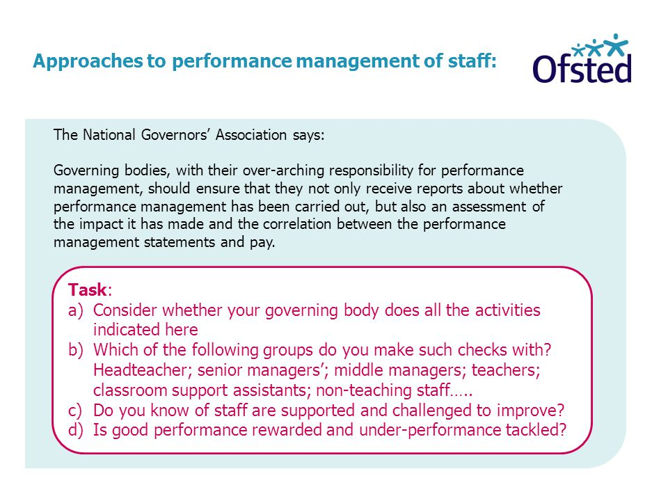 Approaches to performance management of staff: