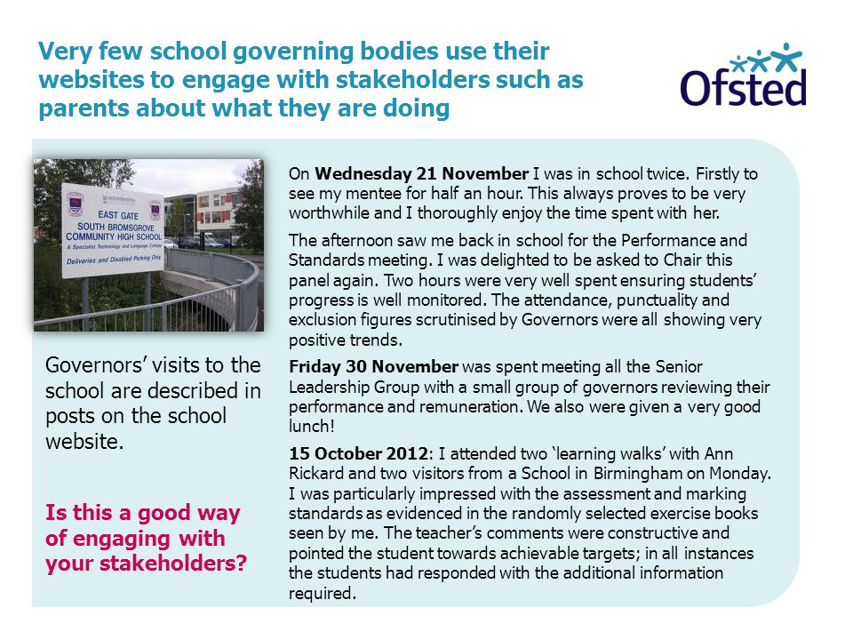 Very few school governing bodies use their websites to engage with stakeholders such as parents about what they are doing