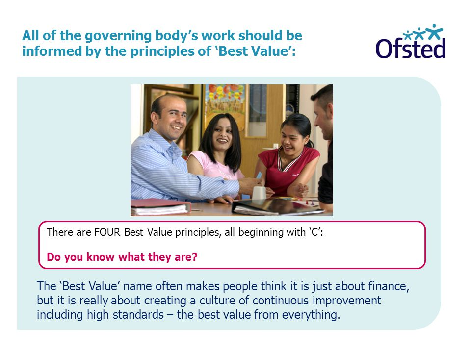 All of the governing body's work should be informed by the principles of 'Best Value':